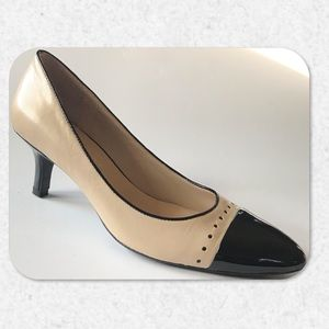 "Franco Sarto Black and Taupe ""Spectator"" Pumps"